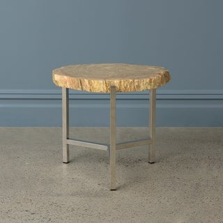 Aurora Home Petrified Teak Side Table with Stainless Steel Base