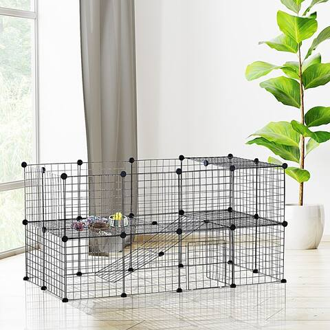 PawHut 36 Panel Pet Playpen Small Animal Cage Metal Wire Indoor Outdoor Portable - Black