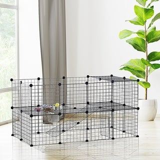 Link to PawHut 36 Panel Pet Playpen Small Animal Cage Metal Wire Indoor Outdoor Portable - Black Similar Items in Dog Houses & Pens
