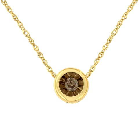 Two-Toned Sterling Silver 1/10ct TDW Diamond Bezel Miracle Pendant Necklace (K-L, I2) - Brown