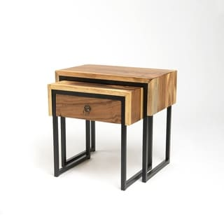 Aurora Home Teak Nesting Side Table Set