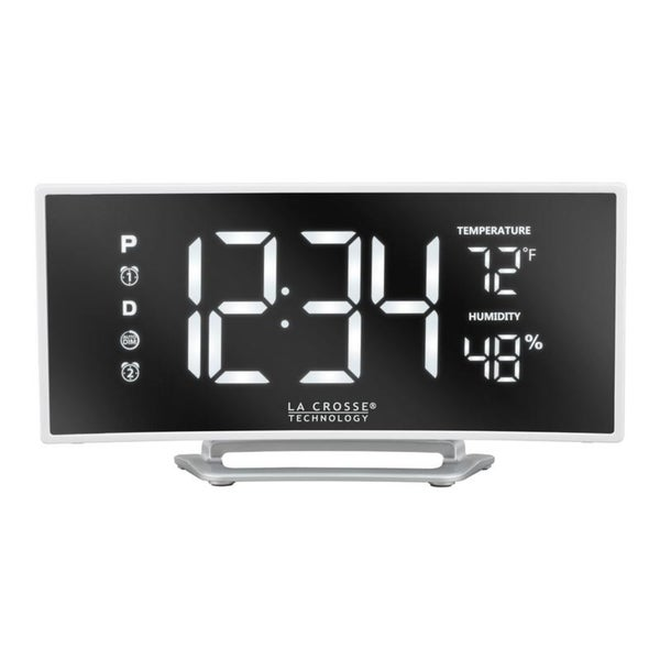 La Crosse Technology 602-249 Curved Mirror LED Alarm Clock with USB
