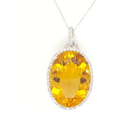 Kabella Citrine and Diamonds Around Necklace