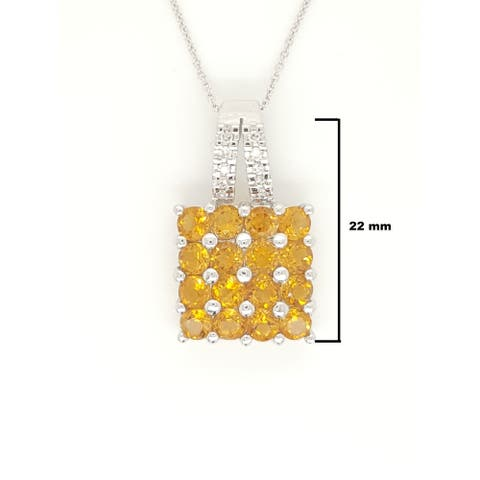 Kabella White Gold Citrine Clusters and Diamonds Necklace
