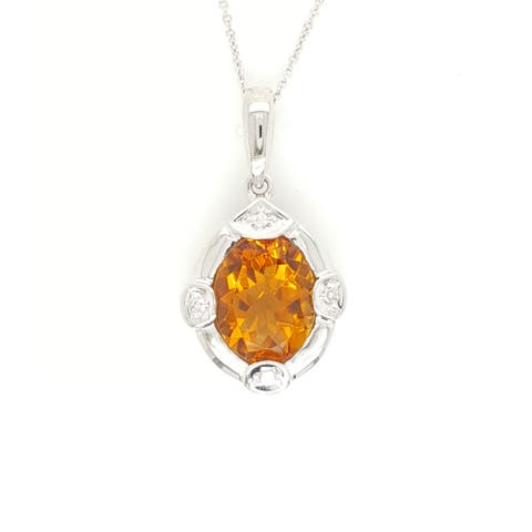 Kabella White Gold Citrine and Four Diamonds Necklace