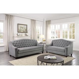 Grace Light Gray Fabric Sofa and Loveseat