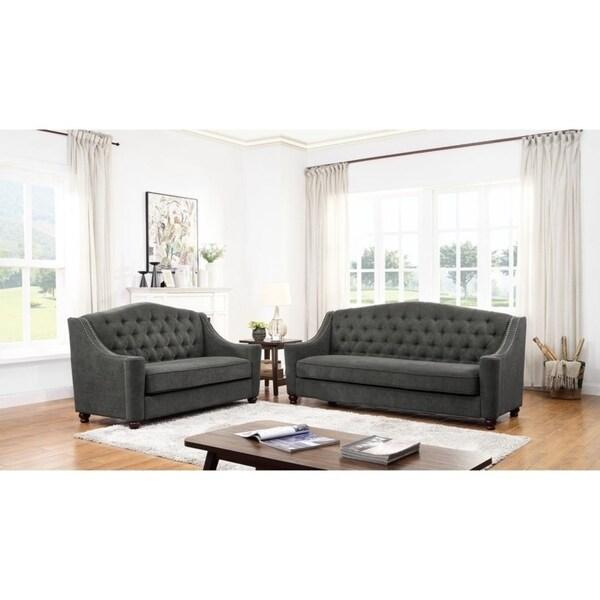 Grace Dark Gray Fabric Sofa and Loveseat
