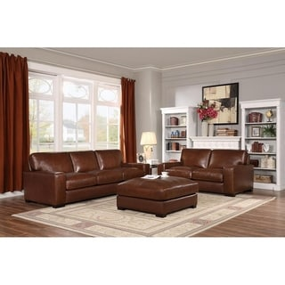 Giovanni Brown Italian Leather Sofa and Loveseat