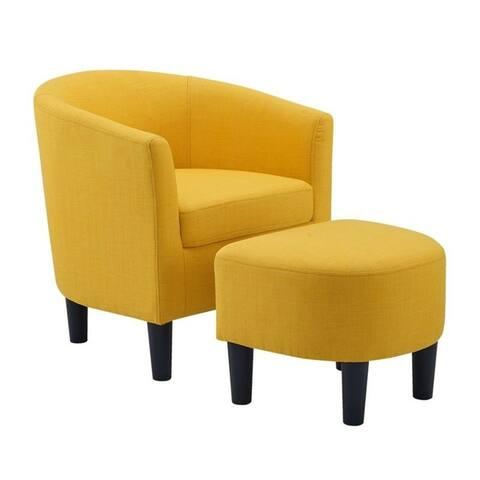 Camilla Fabric Barrel Chair with Ottoman Set