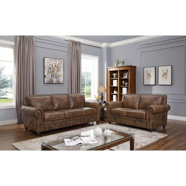 Malati Brown Italian Leather Sofa and Loveseat