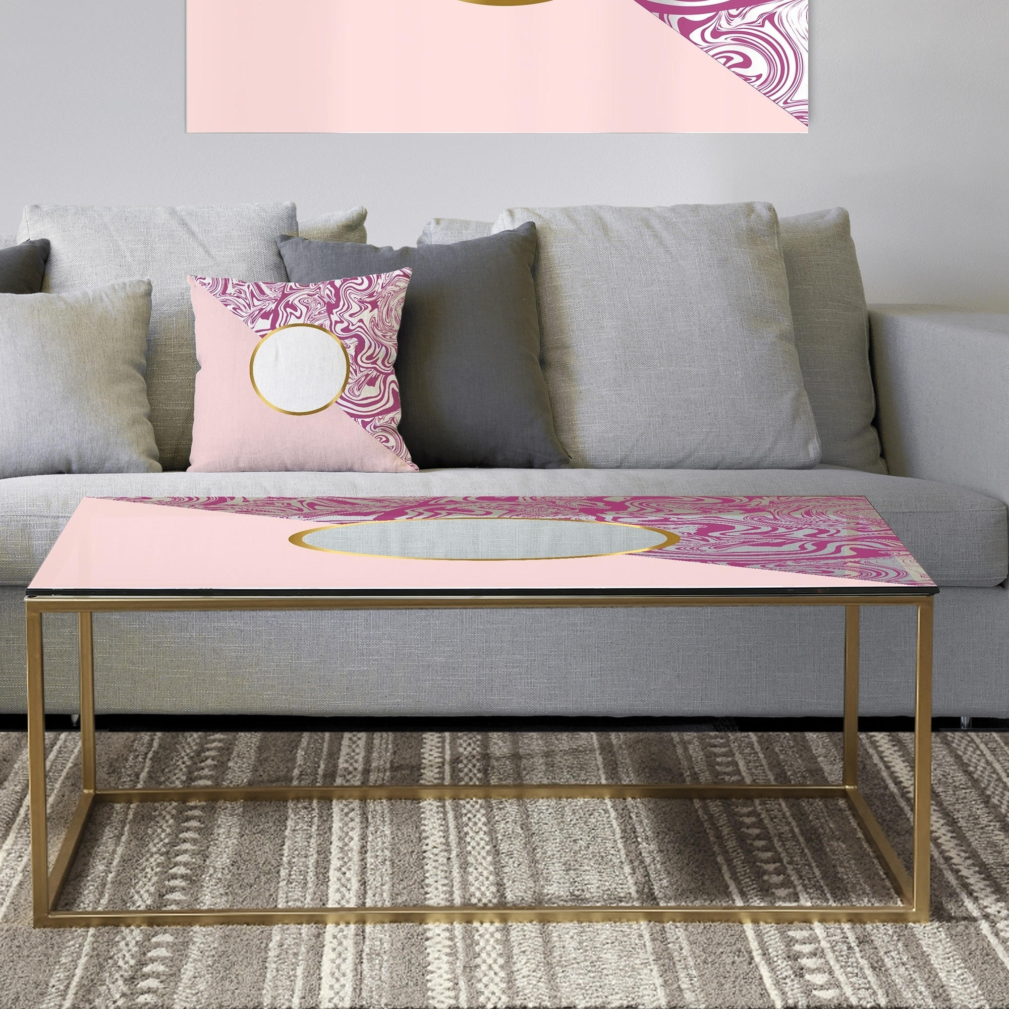 - Shop Designart 'Marbled Pink Marble 1' Metal Modern Coffee Table