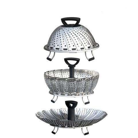 Utencil Vegetable Steamer 3 Compartment Stainless-Steel Steamer Food Steamer with Foldable Basket Including Onion Peeler