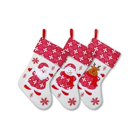 "3 Pack Christmas Stockings Set - 15"" White Santa Snowman Reindeer"