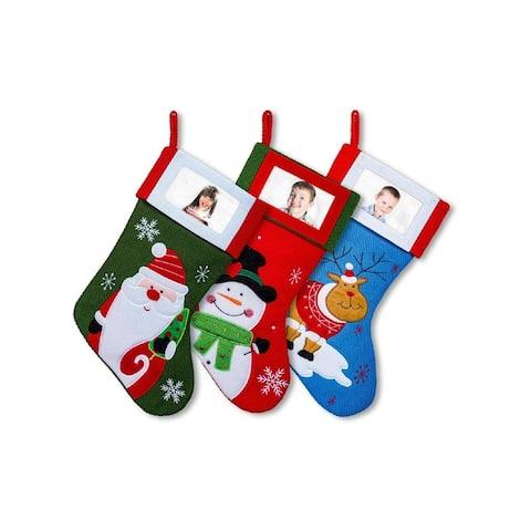 "3 Pack Christmas Stockings Set W/ Photo Frame - 15"" Colorful Santa Snowman Reindeer"