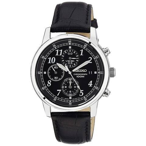 Seiko Men's SNDC33 Chronograph Black Leather Watch