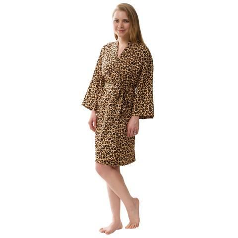 Leopard Robe, Women's Leopard Robe Knee Length