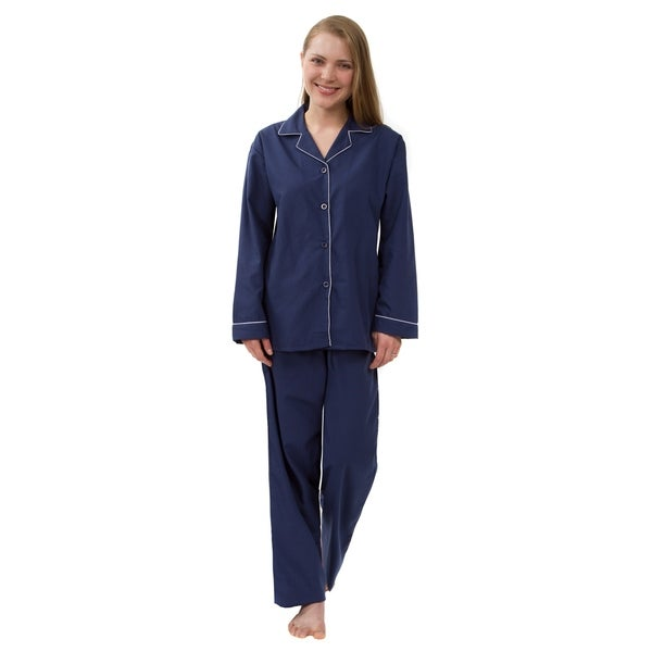 Women's Solid Pajama Set, Long Sleeved Woven Pajamas
