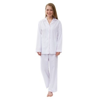 Women's Solid Pajama Set, Long Sleeved Woven Pajamas