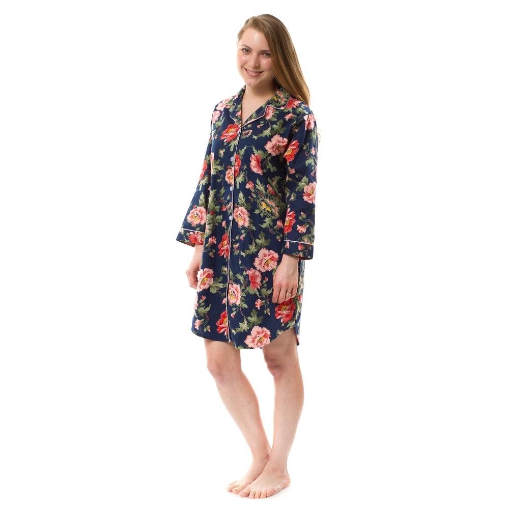 Womens Cotton Floral Nightshirt Cotton Poplin Nightshirt