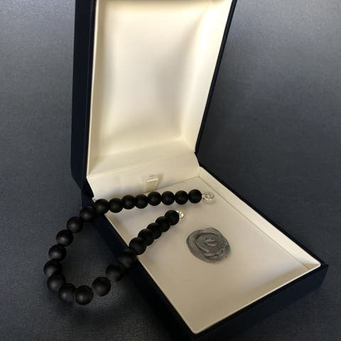Sterling Silver Spiritual Gemstone Beaded Bracelet - Matte Onyx