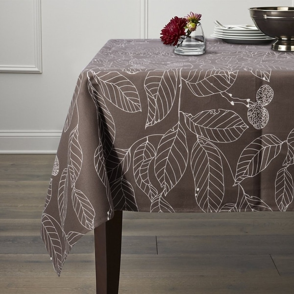 """Heavyweight Vintage Burlap Cotton Tablecloth 52"""" x 70"""" Brown Leaves"""