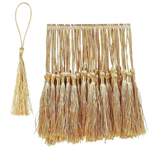 "150 Silky Floss Tassel Pendant with 2.3"" Cord Loop, Gold, 0.1""x 5.4""x 0.1"""