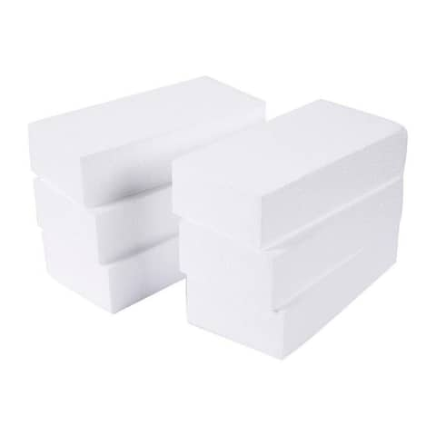 6-Pack Rectangle Polystyrene Foam Block, Brick for DIY Sculpture, 8 x 4 x 2""
