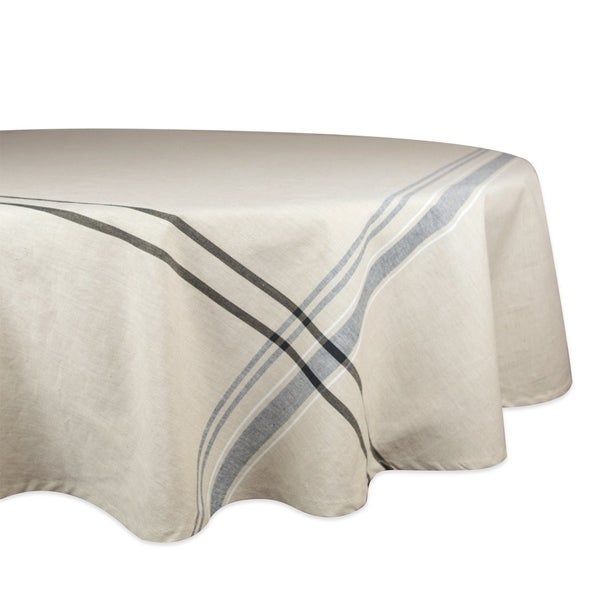 "Cotton Machine Washable French Stripe Kitchen Round Tablecloth 70"" Black Stripes"