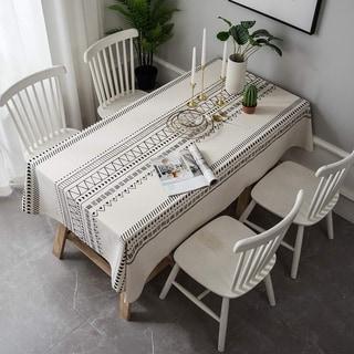 "Cotton Linen Boho Colorful Geometric Rectangle Tablecloth 55"" x 70"" Multicolor"