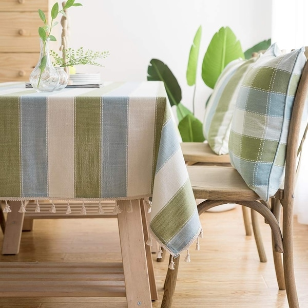 """Polyester Cotton Stylish Kitchen Dining Tablecloth 55"""" x 55"""" Blue Green"""