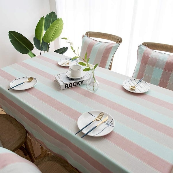 """Polyester Cotton Stylish Kitchen Dining Tablecloth 55"""" x 55"""" Blue Pink"""