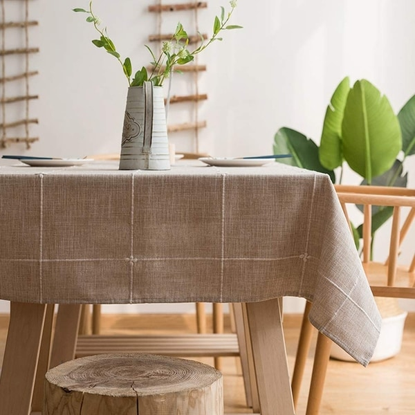 """Polyester Cotton Stylish Kitchen Dining Tablecloth 55"""" x 70"""" Coffee Grid"""