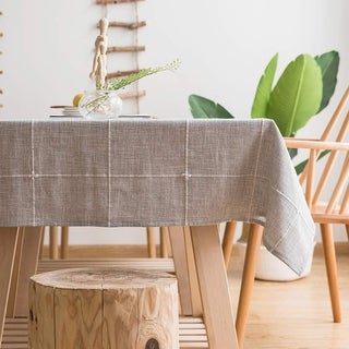 """Polyester Cotton Stylish Kitchen Dining Tablecloth 55"""" x 70"""" Gray Grid"""
