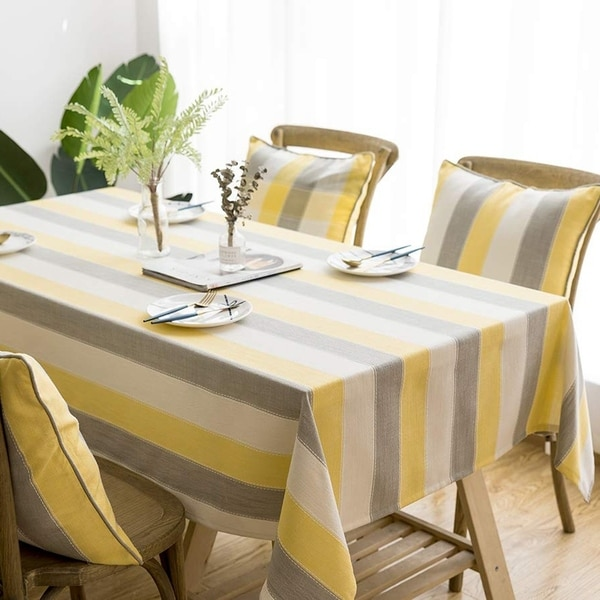 """Polyester Cotton Stylish Kitchen Dining Tablecloth 55"""" x 70"""" Yellow Striped"""