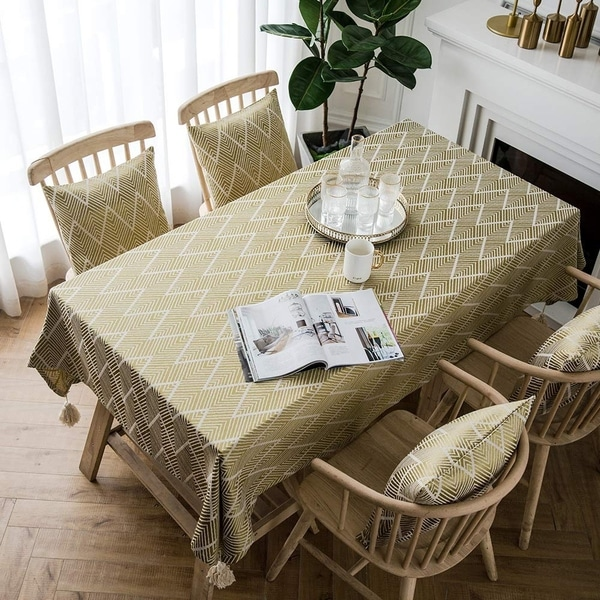 """Polyester Cotton Stylish Kitchen Dining Tablecloth 55"""" x 55"""" Yellow Wave"""