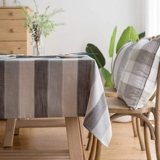 """Polyester Cotton Stylish Kitchen Dining Tablecloth 55"""" x 70"""" Gray Striped"""