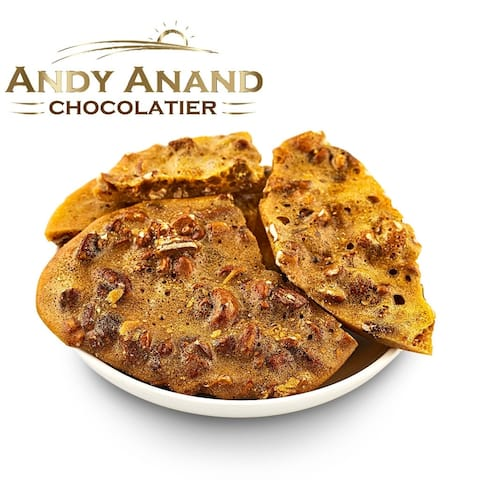 Andy Anand Old Fashioned Handmade Cashew Brittle made with Real Honey, Vegan 1lbs