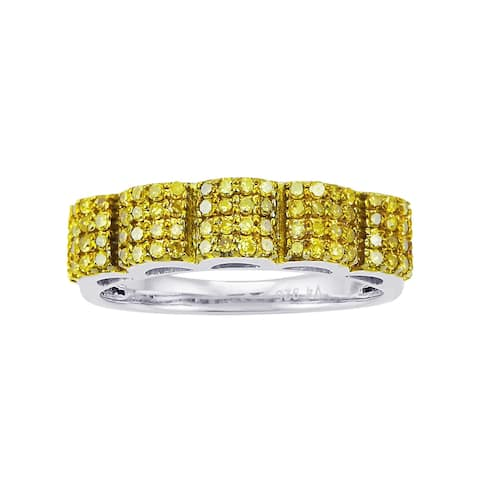 Sterling Silver with 0.50 CTTW Genuine Yellow Diamond Band Ring