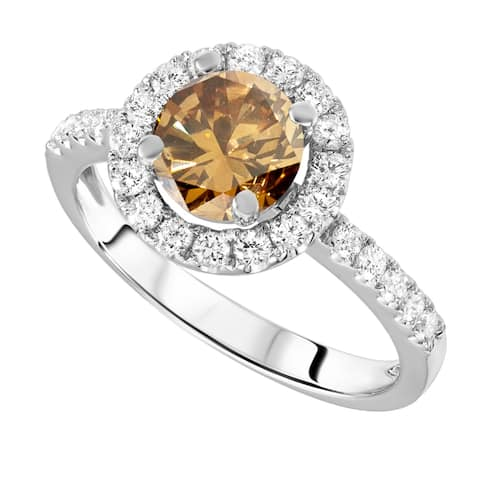 Sterling Silver with Genuine Champagne Diamond and Natural White Topaz Halo Ring - Brown