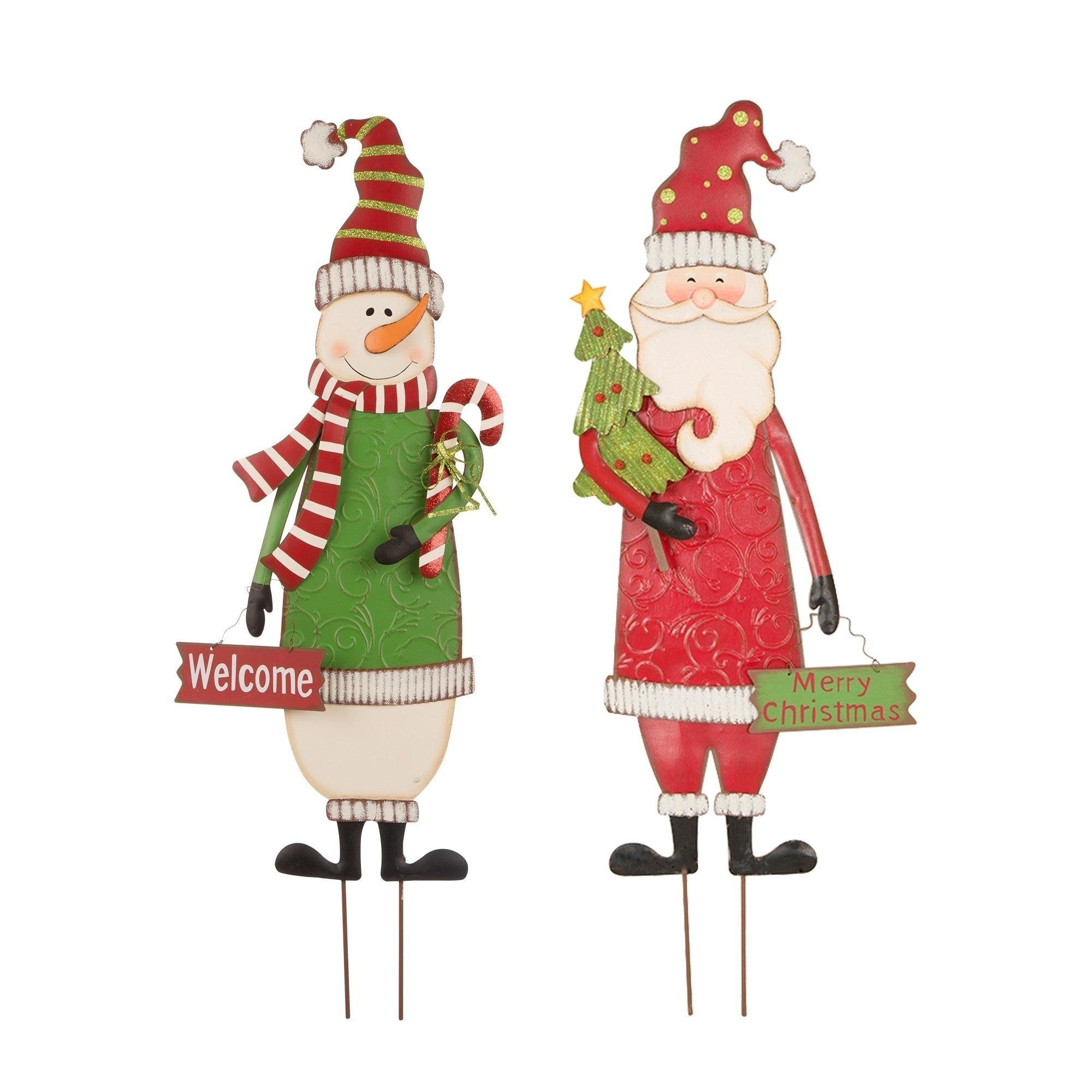 Glitzhome 36 H Christmas Metal Yard Stake Standing Decor Wall Decor