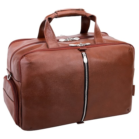 """McKlein USA AVONDALE 22"""" Leather, Triple Compartment, Carry-All, Travel, Laptop Duffel"""