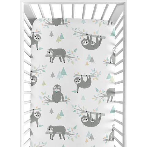 Sweet Jojo Designs Blue Grey Jungle Sloth Leaf Unisex Boy or Girl Fitted Crib Sheet - Turquoise Gray Green Botanical Rainforest