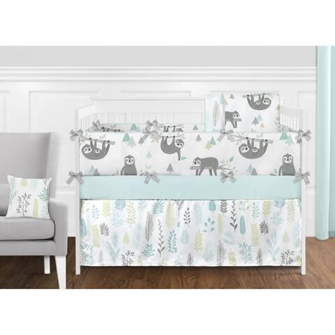 Sweet Jojo Designs Blue Grey Jungle Sloth Leaf Unisex 9pc Nursery Crib Bedding Set - Turquoise Gray Green Tropical Rainforest