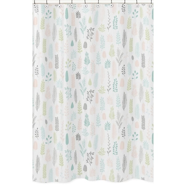 Sweet Jojo Designs Pink And Grey Tropical Leaf Bathroom Fabric Bath Shower Curtain Blush Turquoise Gray Green Jungle Sloth