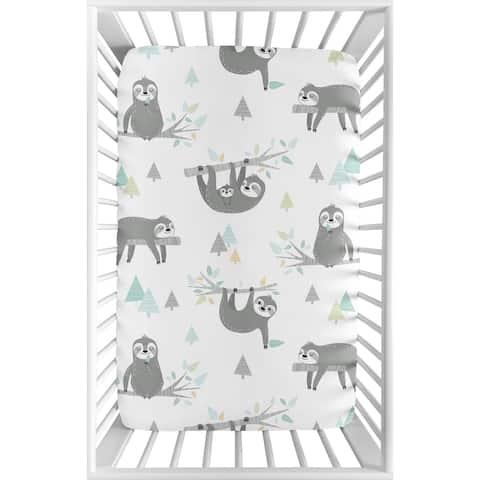 Sweet Jojo Designs Blue Grey Jungle Sloth Leaf Unisex Fitted Mini Portable Crib Sheet For Mini Crib - Turquoise Green Rainforest