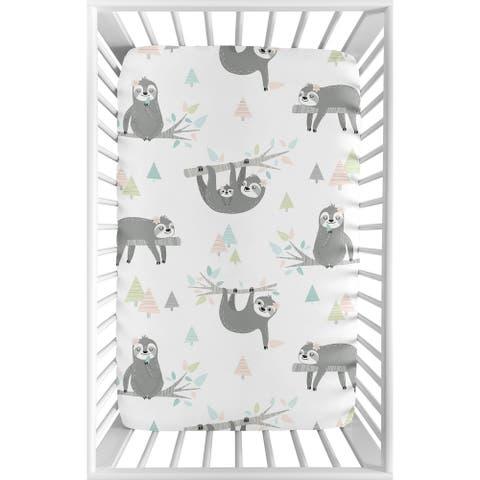 Sweet Jojo Designs Pink Grey Jungle Sloth Girl Fitted Mini Portable Crib Sheet For Mini Crib - Blush Turquoise Green Rainforest