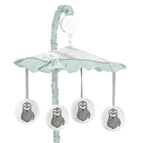 Sweet Jojo Designs Blue Grey Jungle Sloth Leaf Unisex Boy Girl Musical Crib Mobile - Turquoise Gray Green Botanical Rainforest