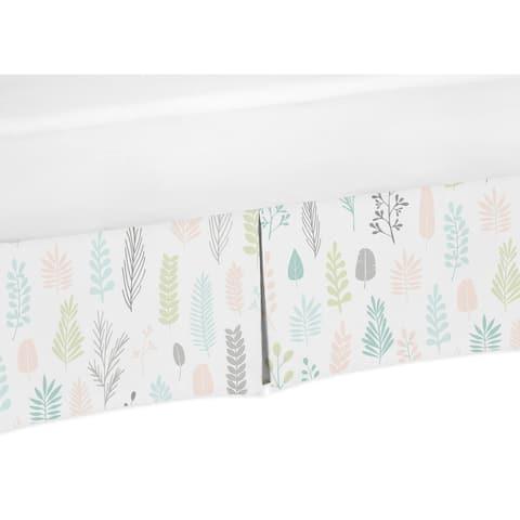 Sweet Jojo Designs Pink Grey Tropical Leaf Girl Crib Bed Skirt - Blush Turquoise Gray Green Botanical Rainforest Jungle Sloth
