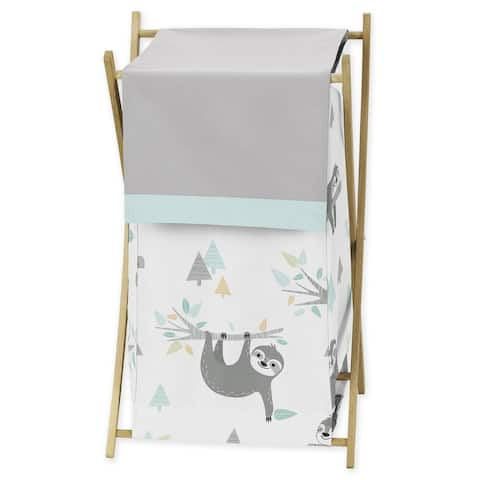 Sweet Jojo Designs Blue and Grey Jungle Sloth Leaf Collection Laundry Hamper - Turquoise, Gray and Green Botanical Rainforest