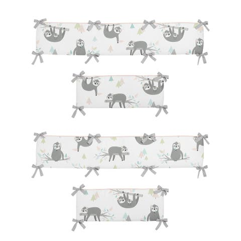 Sweet Jojo Designs Pink and Grey Jungle Sloth Leaf Girl Baby Crib Bumper Pad - Blush Turquoise Gray Green Tropical Rainforest